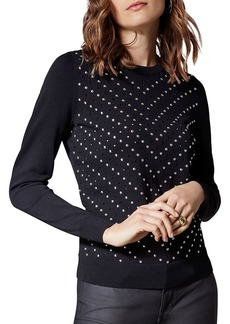 KAREN MILLEN Chevron Studded Sweater