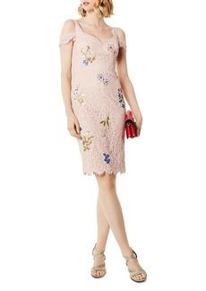 KAREN MILLEN Cold-Shoulder Embroidered Lace Dress