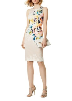 KAREN MILLEN Crisscross Floral Print Sheath Dress