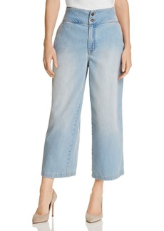 Karen Millen Cropped Wide-Leg Jeans in Denim - 100% Exclusive