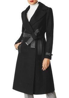 KAREN MILLEN Faux Leather-Trim Belted Coat