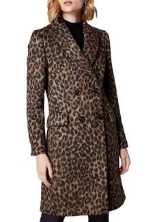 KAREN MILLEN Double-Breasted Leopard-Print Coat