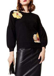KAREN MILLEN Embroidered Balloon Sleeve Sweatshirt