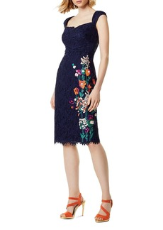 KAREN MILLEN Embroidered Lace Sheath Dress