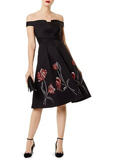 KAREN MILLEN Embroidered Off-the-Shoulder Dress