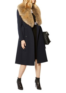 KAREN MILLEN Faux Fur-Collar Trench Coat