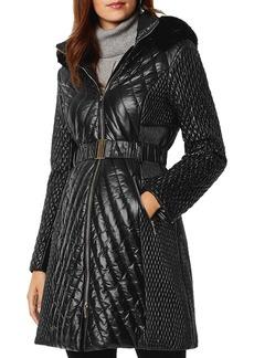 KAREN MILLEN Faux Fur-Trim Quilted Coat