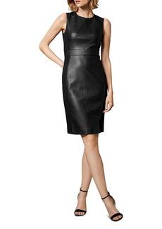 KAREN MILLEN Faux Leather & Ponte Sheath Dress