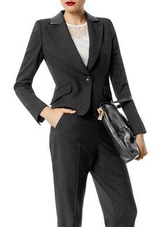KAREN MILLEN Faux-Leather Trim Boxy Blazer