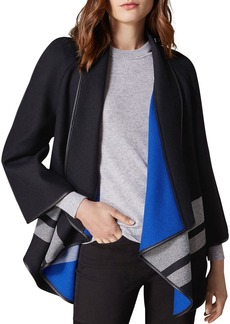 KAREN MILLEN Faux Leather-Trim Striped Cape