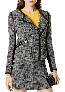 KAREN MILLEN Faux-Leather Trim Tweed Jacket