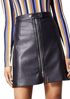 KAREN MILLEN Faux Leather Zip-Front Mini Skirt