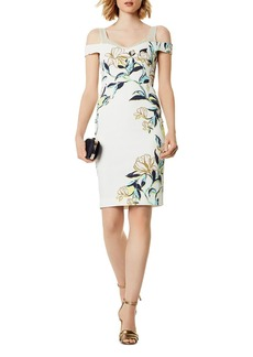 KAREN MILLEN Floral Cold-Shoulder Sheath Dress