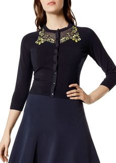 KAREN MILLEN Floral Lace-Inset Cardigan