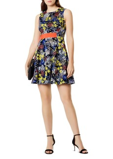 KAREN MILLEN Floral Print Fit-and-Flare Dress
