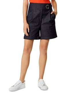 KAREN MILLEN High-Rise Denim Bermuda Shorts in Dark Denim