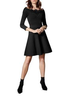 KAREN MILLEN Lace-Trim Off-the-Shoulder Dress