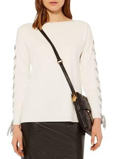 KAREN MILLEN Lace-Up Sleeve Sweater