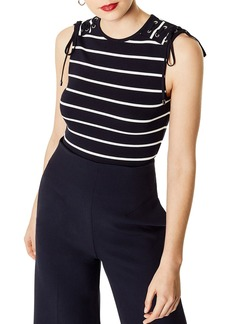 KAREN MILLEN Lace-Up Striped Top