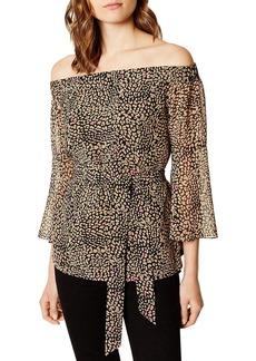 KAREN MILLEN Leopard Print Off-the-Shoulder Top