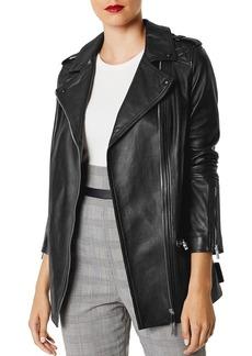 KAREN MILLEN Long Leather Biker Jacket
