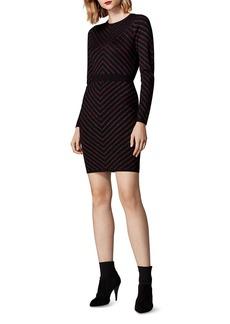KAREN MILLEN Metallic-Stripe Body-Con Dress