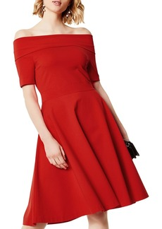 KAREN MILLEN Off-the-Shoulder Fit-and-Flare Dress