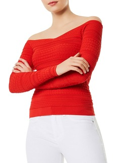 KAREN MILLEN Off-the-Shoulder Mixed-Stitch Sweater