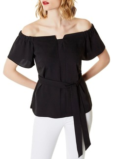 KAREN MILLEN Off-the-Shoulder Tie-Waist Top
