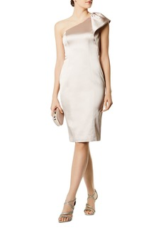 KAREN MILLEN One-Shoulder Satin Sheath Dress