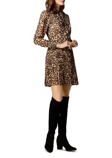 KAREN MILLEN Pleated Leopard Print Dress