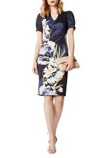 KAREN MILLEN Puff-Sleeve Floral Print Dress
