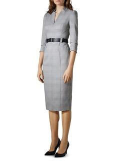 KAREN MILLEN Puff-Sleeve Glen Plaid Sheath Dress