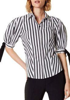 KAREN MILLEN Puff-Sleeve Striped Shirt