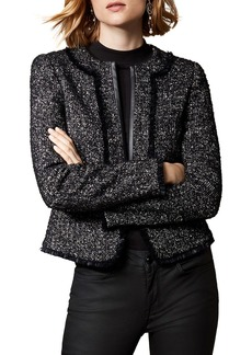 KAREN MILLEN Ruffle-Trim Tweed Jacket