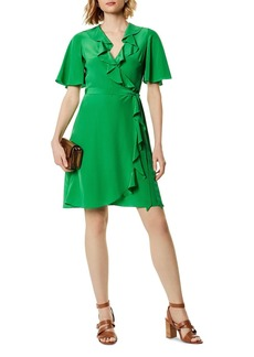 KAREN MILLEN Ruffled Silk Wrap Dress