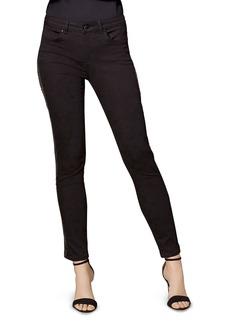 KAREN MILLEN Sequin-Stripe Skinny Jeans in Black