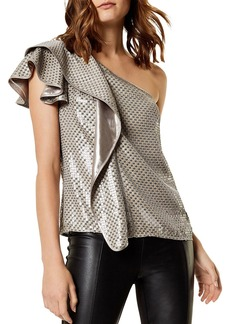 KAREN MILLEN Sequined One-Shoulder Top
