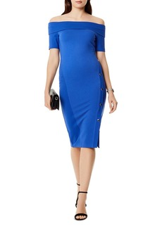 KAREN MILLEN Side-Snap Off-the-Shoulder Dress