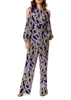 KAREN MILLEN Snake Print Silk Jumpsuit