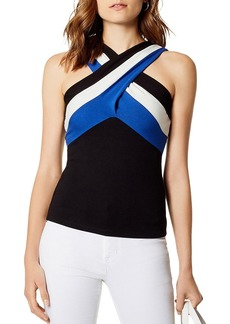 KAREN MILLEN Striped Detail Crossover Top
