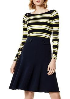 KAREN MILLEN Striped Rib-Knit Sweater