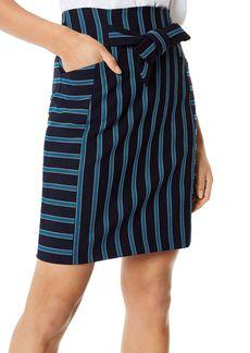 KAREN MILLEN Striped Tie-Waist Skirt