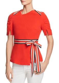 KAREN MILLEN Striped-Trim Ruched-Sleeve Top - 100% Exclusive