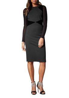 KAREN MILLEN Velvet-Panel Sheath Dress