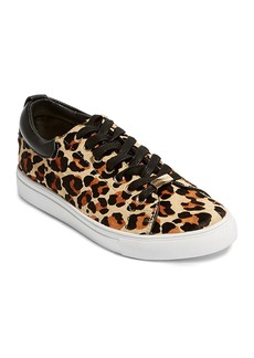 KAREN MILLEN Women's Leopard Print Calf Hair Low Top Lace Up Sneakers