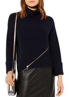 KAREN MILLEN Zip-Detail Turtleneck Sweater