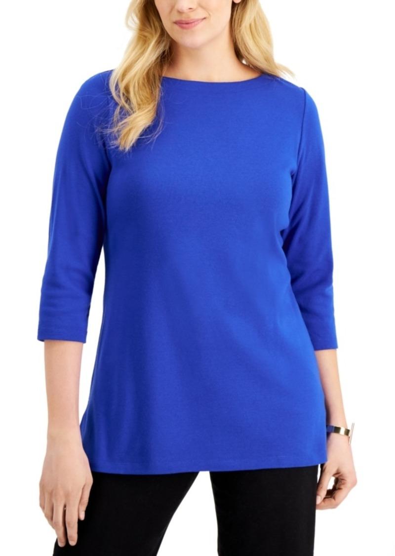 Karen Scott 3/4-Sleeve Boat-Neck Tunic Top, Created for Macy's
