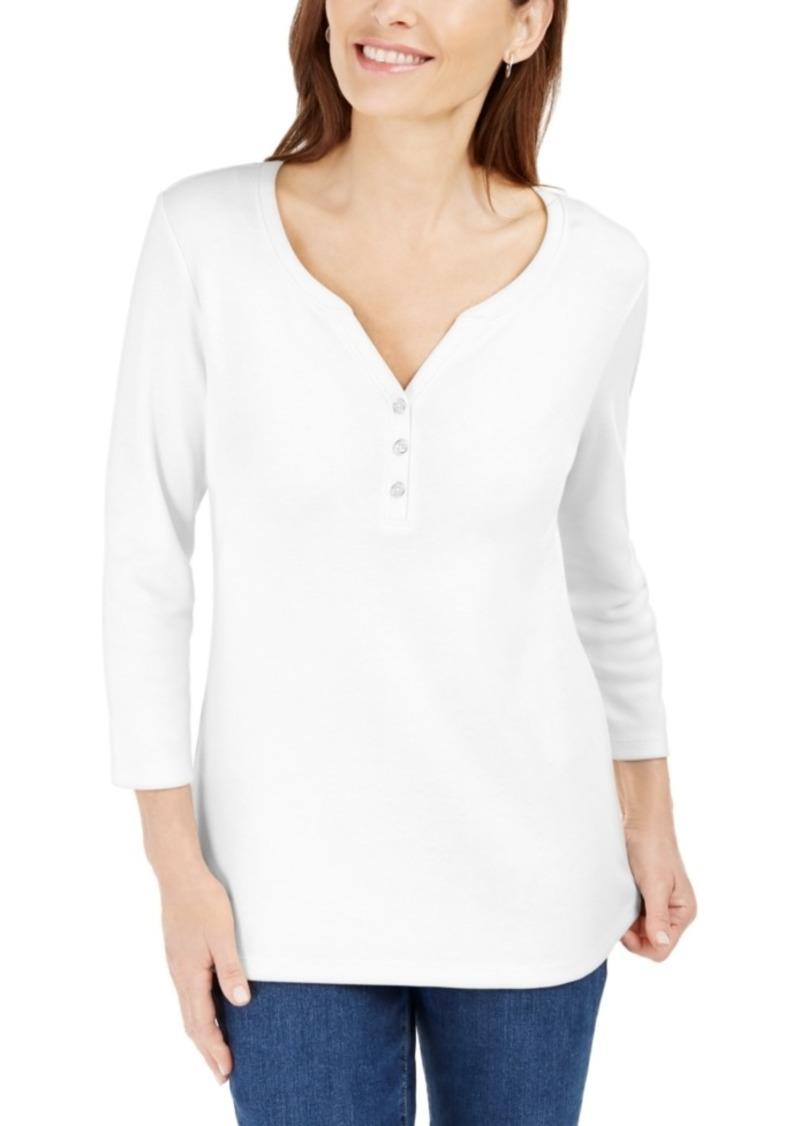 Karen Scott 3/4-Sleeve Henley Shirt, Created for Macy's