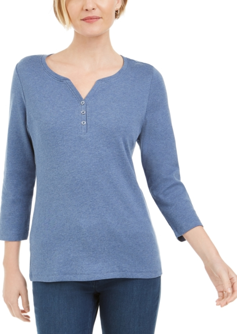 Karen Scott Petite 3/4-Sleeve Henley Shirt, Created for Macy's